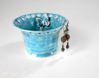 Pottery earring organizer, pottery earring ring holder, stoneware jewelry bowl with butterfly, ceramic jewelry dish, ceramic earring bowl