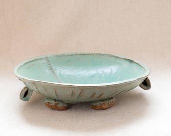 Vintage Rustic Bohemian Hand Built Slab Textured Organic Shaped Pottery Bowl