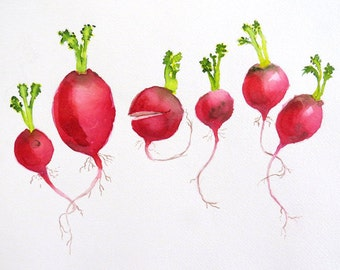 Kitchen Wall Art, Radishes, Art Print, Vegetable Print, Garden Art, Botanical, Red artwork, Red, watercolor, Radish painting