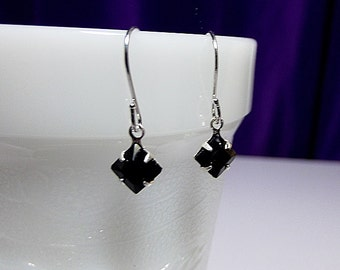 Swarovski Jet Black Crystal Silver Earrings, Bridesmaid Wedding Valentines Mothers Day Jewelry Gift, Mom Sister Grandmother, Si
