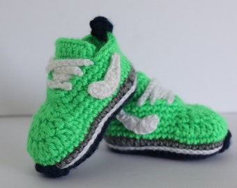 Crocheted Baby Sneakers, Green Nike Inspired Baby Tennis Shoes, Size 0-3 Months Baby Sneakers