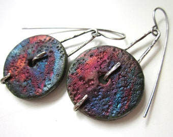 The Universal Sound - organic primitive sci fi red blue purple raku ceramic discs and textured sterling silver metalwork prong earrings