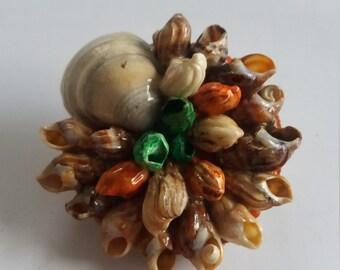 Vintage Marine Seaside Shell Brooch - Chic Kitsch Boho - Italian Design - Wildlife