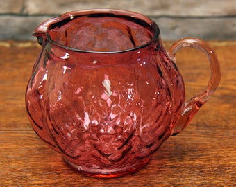 Cranberry Blown Glass Pitcher | Bulbous Criss-Cross Pattern | Likely Made by Pilgrim Glass | So Pretty!