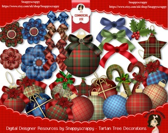 Christmas Scrap Kits, Digital Scrapbooking, Tartan,  Designer Resources, Christmas Balls, Tartan Decorations, Tartan Elements, CU4CU