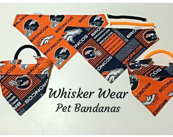 denver football fabric , reversible custom pet bandana, sizes XL-XS, pet scarf, pet attire, pet, dog, dog bandana, dog scarf