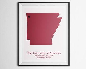 The University of Arkansas, Fayetteville, Arkansas Map Print