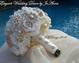 IVORY ROSE GOLD Bridal Brooch Bouquet, Custom Wedding Bouquet, Rose Gold Brooch Bouquet with matching Boutonniere- Deposit