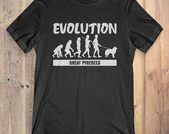 Great Pyrenees Custom Dog T-Shirt Gift: Great Pyrenees Evolution