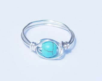 Turquoise Ring, Wire Wrapped Turquoise Ring, Wire Wrap Ring, Wire Wrapped Ring, Gemstone Ring, Wire Wrapped Turquoise, Turquoise, Wire Wrap