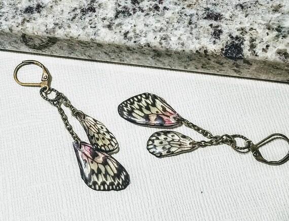 Mini Pink Butterfly Wing Earrings
