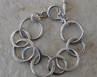 Sterling Silver 925 Circle Chain Toggle Bracelet