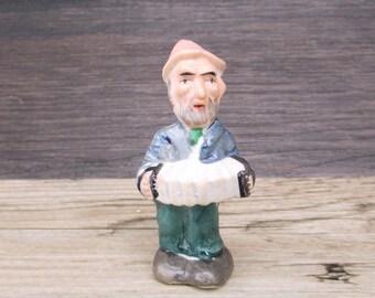 Vintage Bisque Figure Musician Gnome Accordion Japan Porcelain Figurine Putz