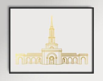 LDS Sacramento California Temple Gold Foil Print