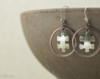 Mixed metal circle autism earring dangles, copper and silver, hand crafted, nickel free jewelry