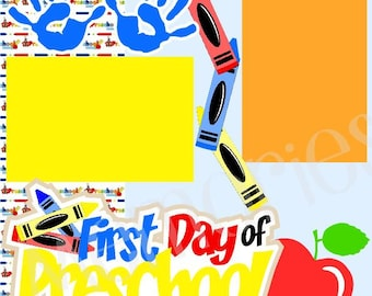 Scrapbook Page Kit 1st Day of Preschool  Premade Scrapbook Pages 2-Page 12X12 Scrapbook Page Kit or Premade Layout