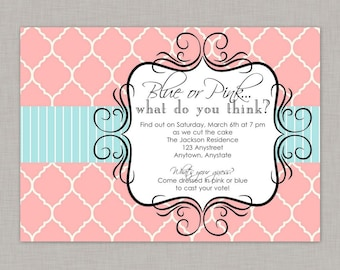 Gender Reveal Invitation, Gender Reveal Party Invitation, Gender Reveal, Printable