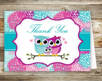 Owl Baby Shower Thank You Cards PRINTABLE