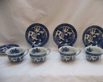 Set of 4 Blue Willow Ware Cups and Saucers Made in Japan