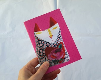 A6 Small Notebook - Digital Image of Textile Art Cat Doll Journal with Hot Pink Dotty Background