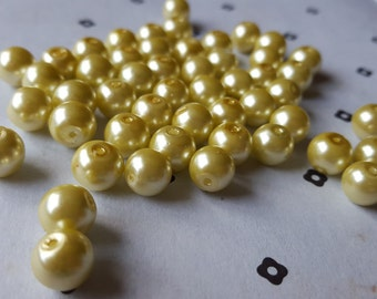 Yellow 8mm faux pearls (50 beads)