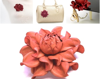 Real Leather Rose -> Make Your Own Custom Gift Coral Flower Bag Charm/Rose Brooch/Table Purse Folding Hanger Holder Tabletop Hook Charm