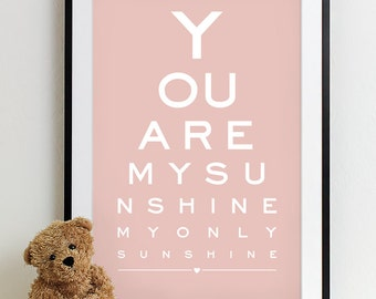 Baby Nursery Art Print Eye Chart - typography poster kids wall art decor nursery wall art boy girl baby gift - You Are My Sunshine