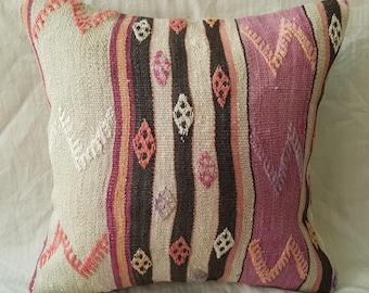 "Kilim Pillow, 18""×18""inches, Decorative Kilim Pillow, Cushion Cover, Throw, Ethnic, Authentic, Aztec, Anatolian, Bohemian, Moroccan, Boho"