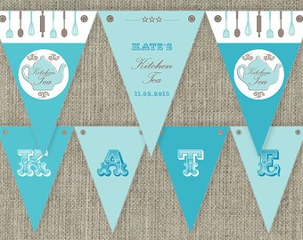 Kitchen Tea - Bridal Tea Party Bunting Flags party decorations. Printable. DIY print at home.
