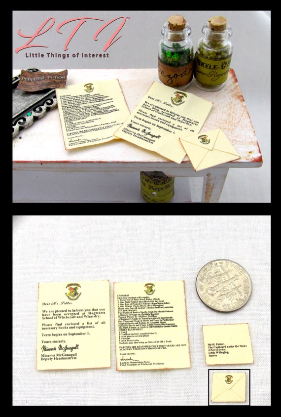 WITCHCRAFT And WIZARD School ACCEPTANCE Letter Miniature Dollhouse 1:12 Scale Magic Magical Hogwarts Wizardry Popular Boy Wizard Potter