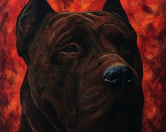 Pitbull Acrylic Painting, Dog Portrait, Animal Art, Canvas Painting, Decorative