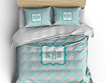 Memorial On Sale Personalized Custom Chevron and  Dream Damask Bedding -Available Toddler, Twin, Full-Queen or king size, Any Color