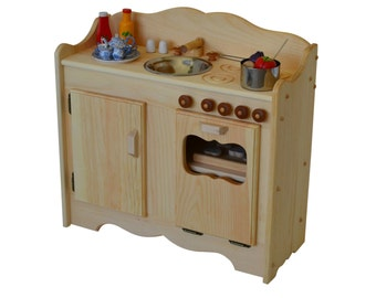 Natural Wooden Play Kitchen-Waldorf Play Stove-Child's Montessori Toy Kitchen- Wooden Toys- Wooden Toy Kitchen-