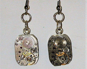 Steampunk Earrings with Vintage Watch Movement #9