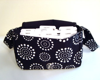 "Large 4"" Size Coupon Orgnaizer- Attaches to Your Cart- - Black with White Dotted Circles"