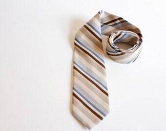 Vintage Men's Necktie - 1950s necktie by Etienne Aigner - striped ivory white blue brown