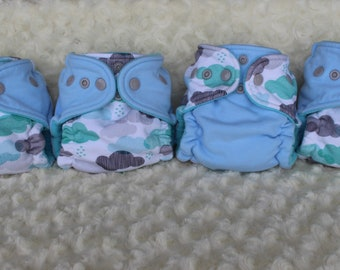 Newborn Fitted Cloth Diaper, Cloud Diaper, Newborn Bamboo Fitted