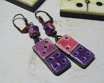 Domino ceramic Stud Earrings, copper, purple fuchsia earrings