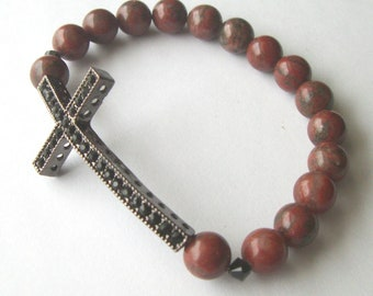 Gunmetal Rhinestone Cross in Red Sesame Jasper Gemstone