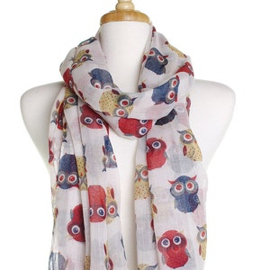 White Vintage Owl Scarf / Oversized Shawl / Ladies Womens Scarves / Cover Up / Gift Ideas For Her / Wrap / Cute Owl Print / Summer Fashion