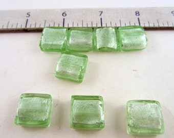 Silver Foil Beads 15x15 sq mm 8 beads light green