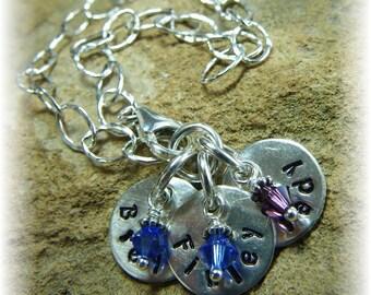 Mother's Day Keepsake Bracelet -3 Three Names. Swarovski Crystal Birthstones. Sterling Silver Chain 1/2 Inch Discs. Hand Stamped to Order