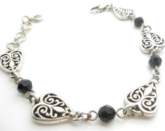 "Ladies MIa Sterling Silver/925 w/Black Bead Onyx Heart Filigree Bracelet-9""; sku # 5057"