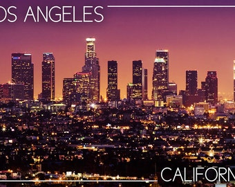 Los Angeles, California - Skyline at Night (Art Prints available in multiple sizes)