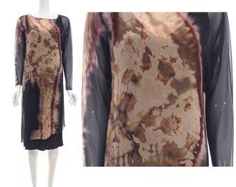 Vintage Mad Love 90s Double Layer Silk Asymmetrical Tie Dye Ethnic Revival Dress