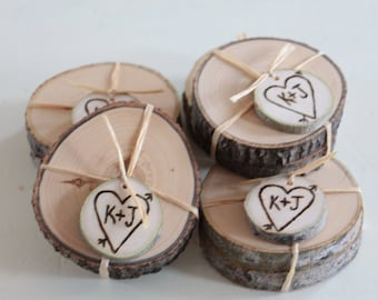 Wedding Favors Personalized Pair of Ash or Birch Coasters - 25 Pairs - Woodsy Rustic Elegant