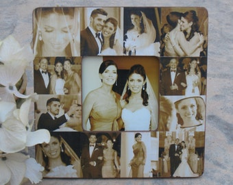 "RESERVED LISTING for Lisa, Unique Wedding Collage Picture Frame, Custom Parents Thank You Gift, 8"" x 8"""