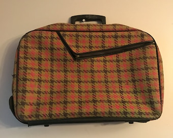 Vintage Luggage- Vintage 60s Plaid Carry On Luggage Briefcase