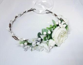 Ivory white flower crown,Flower girl crown,Wedding hair accessories,Maternity crown,Wedding flower headpiece,Baby flower headband