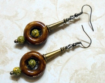 Rustic Brown, Green and Brass Boho Earrings (3061)